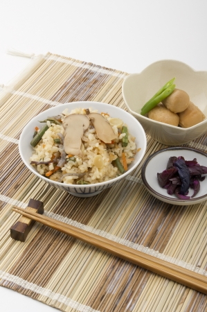 delicious traditional japanese foods on mat