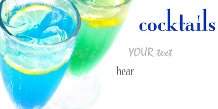 blue hawaiian drink: Summer Tropical Martini Cocktails on white background (with sample text)