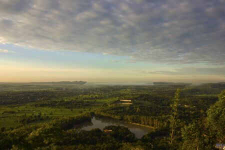 champ vert: Domaine vert de la vue de dessus dans la matin�e Banque d'images