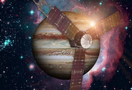 jupiter light: Juno spacecraft and Jupiter. Stock Photo