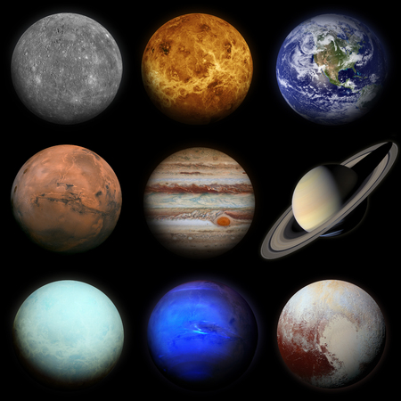 Solar system. Planets on black background. Sun, Mercury, Venus, Earth, Mars, Jupiter, Saturn, Uranus, Neptune, Pluto. Elements of this image furnished by NASA.