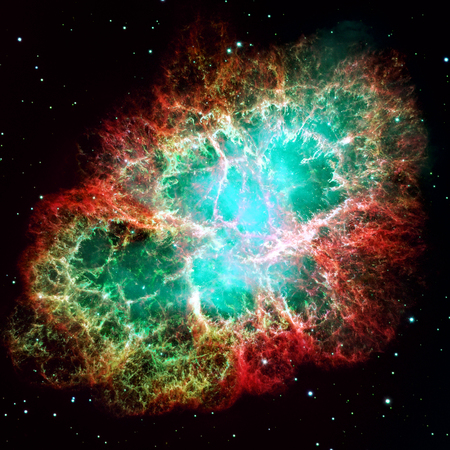 remnant: Crab Nebula is a six-light-year-wide remnant of a stars supernova explosion. A rapidly spinning neutron star, in the center bluish glow. Retouched image.