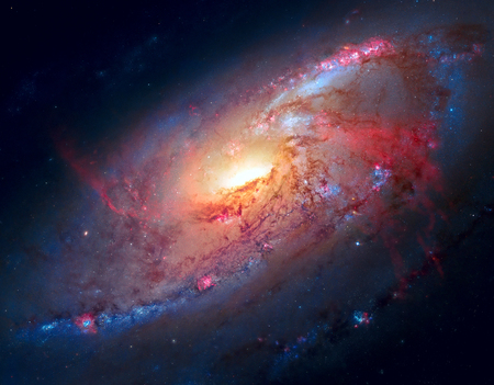 lies: M106, Spiral Galaxy. Also known as NGC 4258, M106 lies 23.5 million light-years away, in the constellation Canes Venatici.