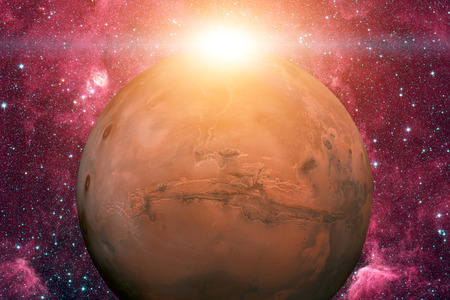 nasa: Solar System - Mars. It is the fourth planet from the Sun. Mars is a terrestrial planet with a thin atmosphere, having craters, volcanoes, valleys, deserts. Elements of this image furnished by NASA