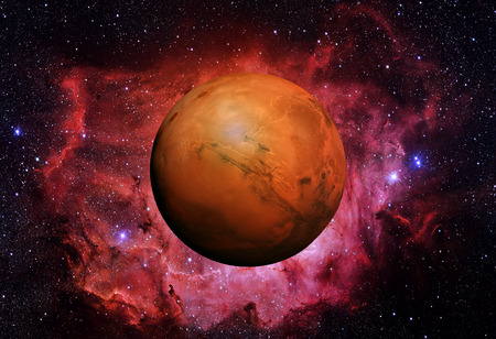 Solar System - Mars. It is the fourth planet from the Sun. Mars is a terrestrial planet with a thin atmosphere, having craters, volcanoes, valleys, deserts. 写真素材