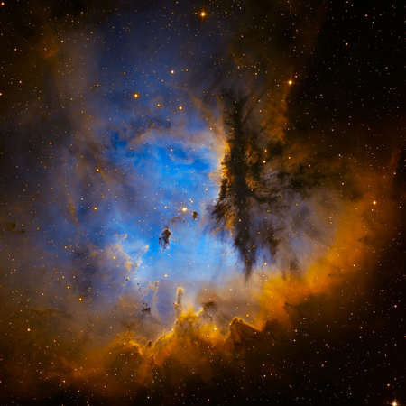 Pacman Nebula or NGC 281 is an H II region in the constellation of Cassiopeia and part of the Perseus Spiral Arm.