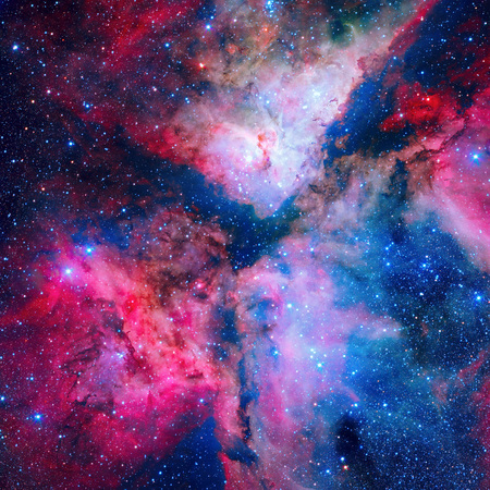 The spectacular star forming Carina Nebula or Grand Nebula. Located in the Carina Sagittarius Arm. Retouched and painted image. Elements of this image furnished by NASA.