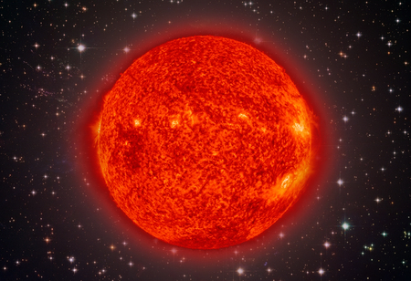 Solar System - Sun. It is the star at the center of the Solar System. Sun is a G-type main-sequence star and it is informally referred to as a yellow dwarf. Stock Photo