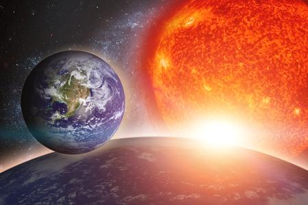 Earth, sun and galaxy.