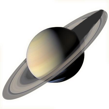 Sistema solar - Saturno. Planeta aislado sobre fondo blanco.