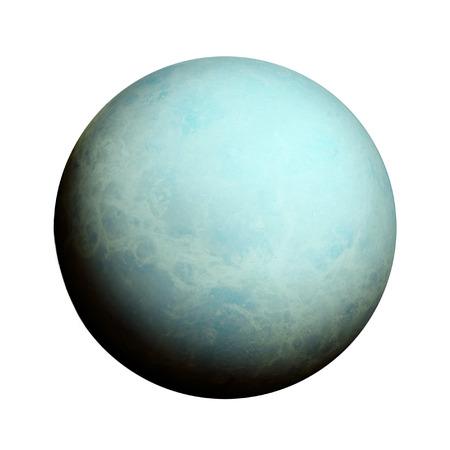 Sistema Solar - Urano. Planeta aislado sobre fondo blanco. Foto de archivo