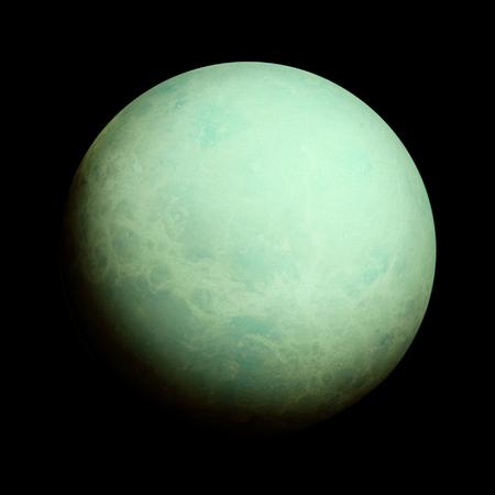 Sistema Solar - Urano. Planeta aislado sobre fondo negro.