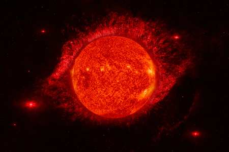 Solar System - Sun. It is the star at the center of the Solar System. Sun is a G-type main-sequence star and it is informally referred to as a yellow dwarf. 스톡 콘텐츠