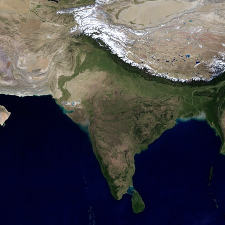 India and the surrounding region. View from space. Фото со стока