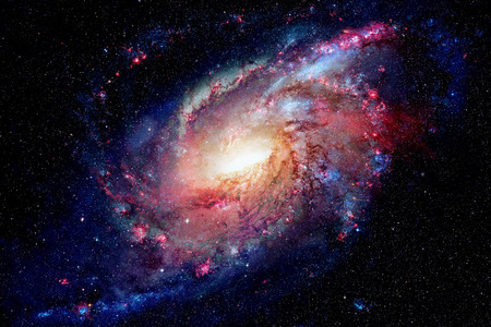 Spiraalstelsel en nevel. Elementen van deze afbeelding geleverd door NASA