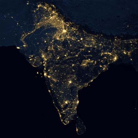 City lights on world map. India. Stock Photo