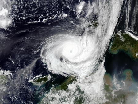 satellite: Typhoon over planet Earth - satellite photo. Stock Photo
