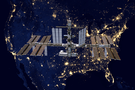 International Space Station over USA.