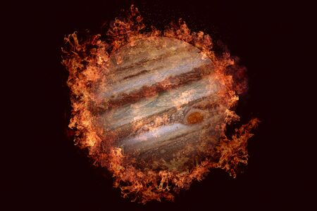 Planet in fire - Jupiter. Science fiction art. Solar system. Elements of this image furnished by NASA