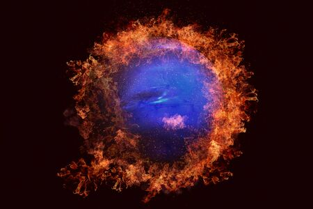 Planet in fire - Neptune. Science fiction art. Solar system. Elements of this image furnished by NASA Stock Photo