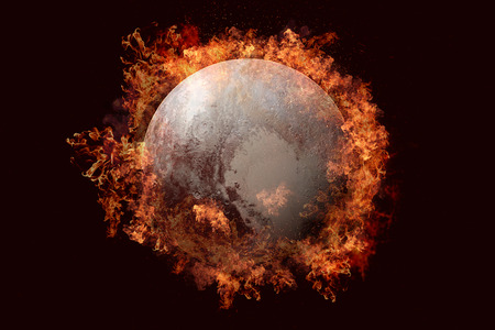 Planet in fire - Pluto. Science fiction art. Solar system. Elements of this image furnished by NASA Stock Photo