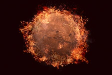 Planet in fire - Mars. Science fiction art. Solar system. Elements of this image furnished by NASA Stock Photo