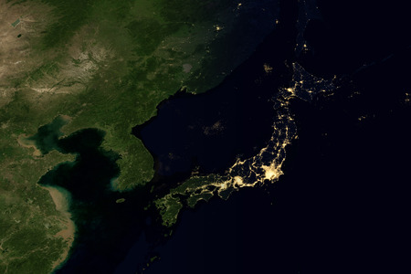 City Lights On World Map Japan Stock Photo Picture And Royalty - Us light map