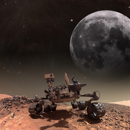 Curiosity rover exploring the surface of Mars. Elements of this image furnished by NASA. Stock Photo