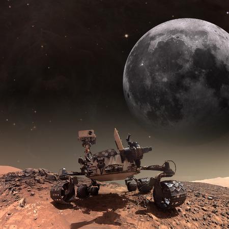 Curiosity rover onderzoekt het oppervlak van Mars. Elementen van deze afbeelding geleverd door NASA. Stockfoto