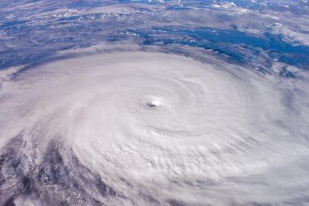 地球の衛星写真上の台風。 写真素材