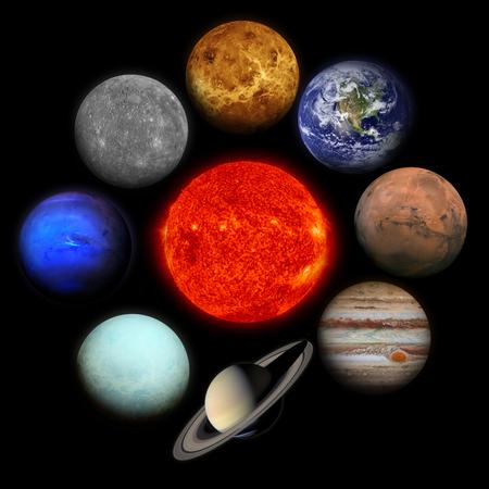 Solar system. Planets on black background. Sun, Mercury, Venus, Earth, Mars, Jupiter, Saturn, Uranus, Neptune, Pluto.