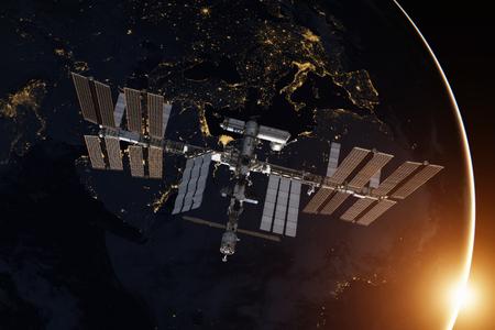 Internationaal ruimtestation over de planeet aarde.