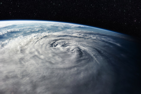 Typhoon over planet Earth - satellite photo Фото со стока