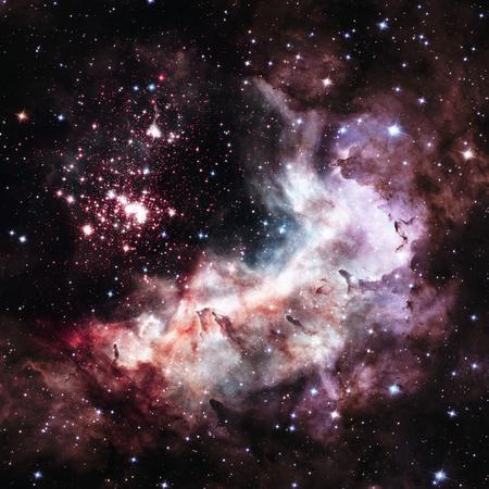 Westerlund 2 is een verduisterde compacte jonge sterrenhoop in de Melkweg. Super sterrenhoop in het sterrenbeeld Carina Stockfoto