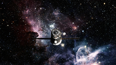 Spacecraft Progress orbiting the space. Elements of this image furnished by NASA.