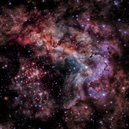 Westerlund 2 is an obscured compact young star cluster in the Milky Way. Super star cluster in the constellation Carina. Elements of this image furnished by NASA. Stock Photo