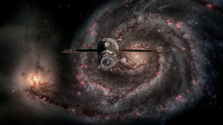 Spacecraft Progress orbiting the galaxy. Stock Photo
