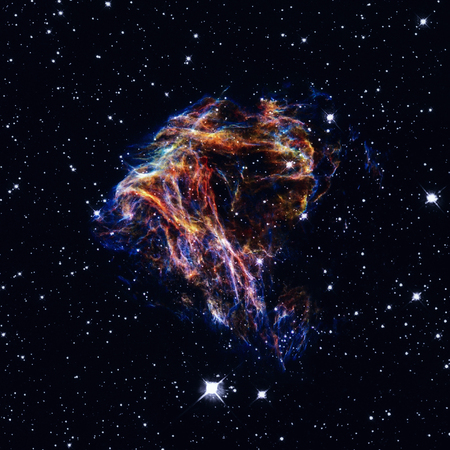 Celestial fireworks: sheets of debris from a stellar explosion in the nearby Large Magellanic Cloud galaxy. Retouched image. Elements of this image furnished by NASA.