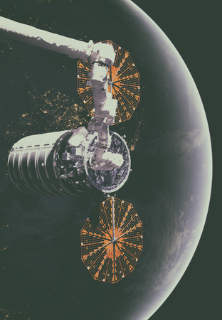 The Cygnus spacecraft in open space. Elements of this image furnished by NASA.