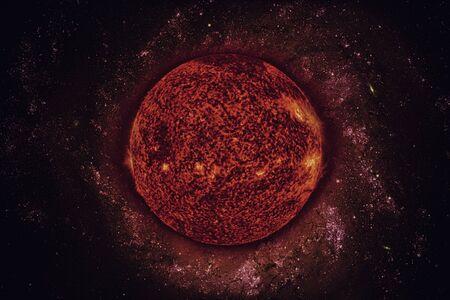 태양계 - 태양. 그것은 태양계의 중심에있는 별입니다. Sun은 G-type 메인 시퀀스 별이며 비공식적으로 황색 왜성으로 불립니다. 이 이미지의 요소는 NASA