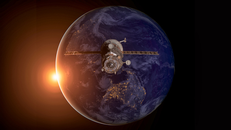 Spacecraft Progress orbiting the earth