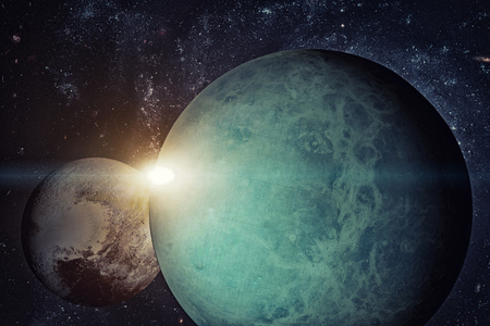 Solar System - Uranus. It is the seventh planet from the Sun and the third-largest in the Solar System. It is a giant planet. Uranus has 27 known satellites.
