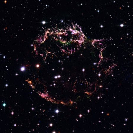 The tattered remains of a supernova explosion known as Cassiopeia A. It is the youngest known remnant from a supernova explosion in the Milky Way. Stock Photo