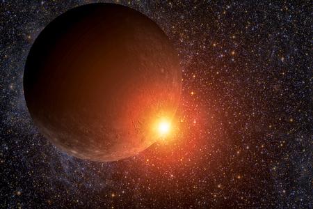 Sistema Solar - Mercury. Es el más pequeño y el más cercano al Sol de los ocho planetas del Sistema Solar, con un período orbital de unos 88 días terrestres. Foto de archivo