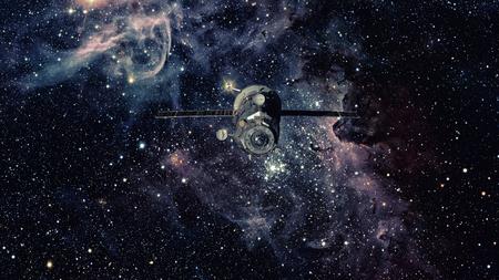 Spacecraft Progress orbiting the space. Stock Photo