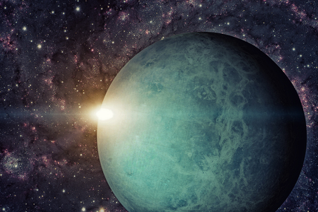 Solar System - Uranus. It is the seventh planet from the Sun and the third-largest in the Solar System. It is a giant planet. Uranus has 27 known satellites. Elements of this image furnished by NASA. Stock Photo
