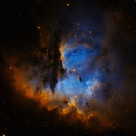Pacman Nebula or NGC 281 is an H II region in the constellation of Cassiopeia and part of the Perseus Spiral Arm. Retouched image.