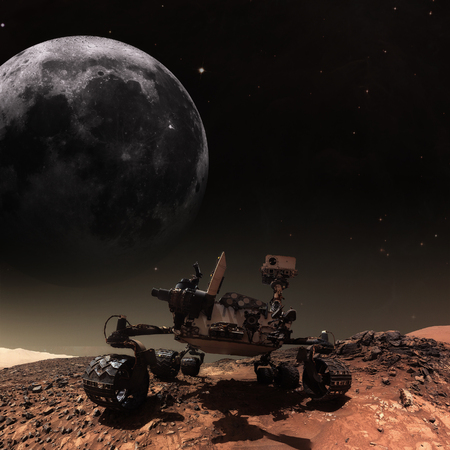 Curiosity rover exploring the surface of Mars.