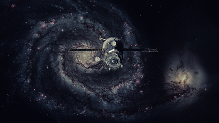 Spacecraft Progress orbiting the galaxy. Elements of this image furnished by NASA. Stock Photo