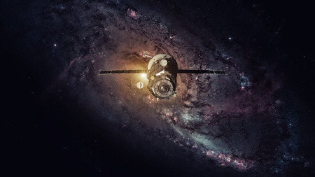 Spacecraft Progress orbiting the earth. Stock Photo